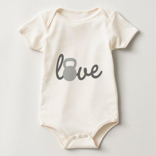 Love Kettlebell Grey Baby Bodysuit