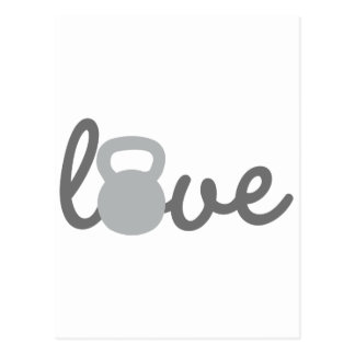Love Kettlebell Grey Postcard