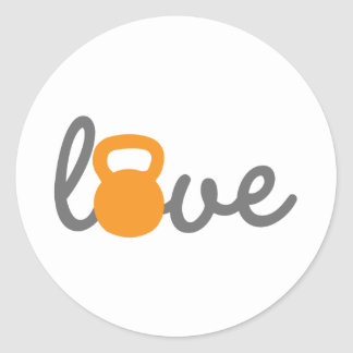 Love Kettlebell Orange Classic Round Sticker