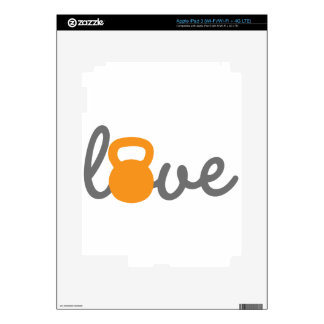 Love Kettlebell Orange iPad 3 Decal