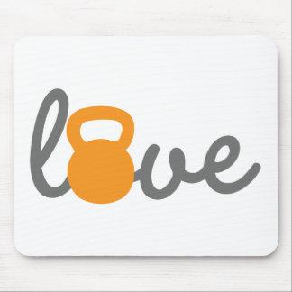 Love Kettlebell Orange Mouse Pad