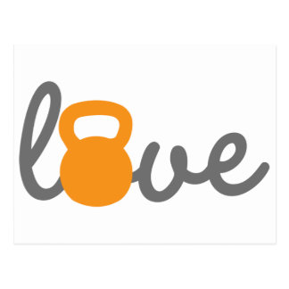 Love Kettlebell Orange Postcard