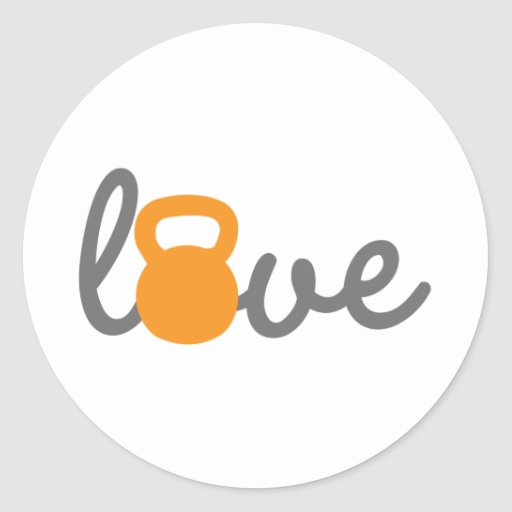 Love Kettlebell Orange Sticker