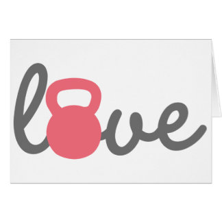 Love Kettlebell Pink Greeting Cards