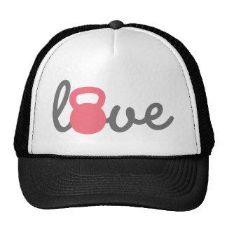 Love Kettlebell Pink Mesh Hats