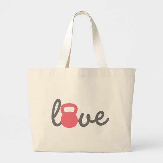 Love Kettlebell Pink Large Tote Bag