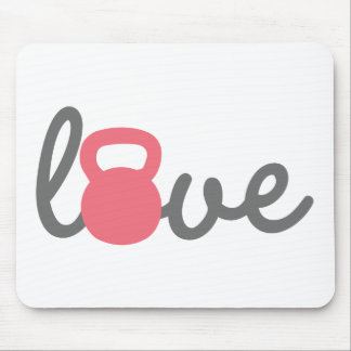 Love Kettlebell Pink Mouse Pads