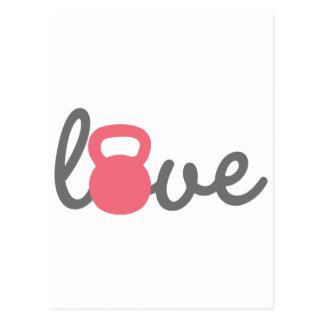 Love Kettlebell Pink Postcard