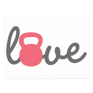 Love Kettlebell Pink Post Cards