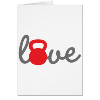 Love Kettlebell Red Greeting Cards