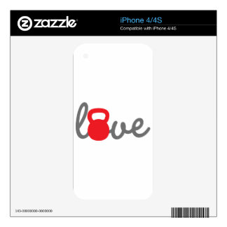 Love Kettlebell Red iPhone 4 Decals