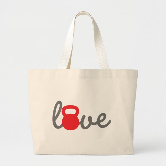 Love Kettlebell Red Large Tote Bag