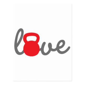 Love Kettlebell Red Postcard