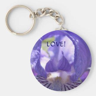 LOVE! Key chain Purple Iris Flower Keychains