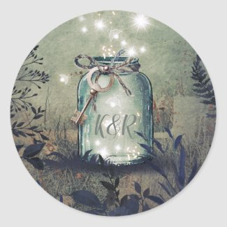 Love Key Mason Jar Rustic Woodland Wedding Classic Round Sticker