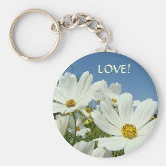 LOVE keychain WHITE DAISY FLOWERS Blue Sky