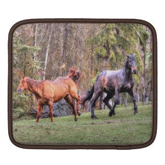 """""""Love Kick"""" Feisty Horses in the rain. Horse photo iPad Sleeve"""