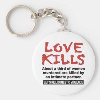Love Kills Basic Round Button Keychain