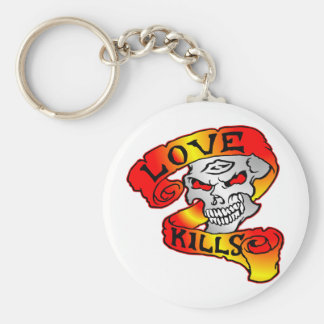 Love Kills Skull Tattoo Keychain