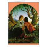 Love kiss romantic couple medieval sword Hesperus Card