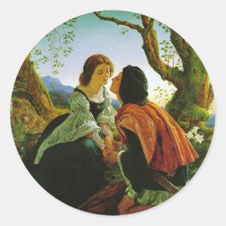 Love kiss romantic couple medieval sword Hesperus Classic Round Sticker