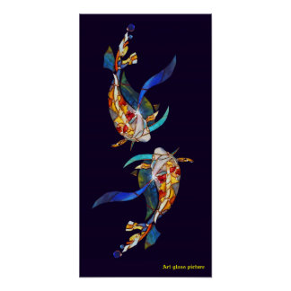 Love Kissing Koi fish Wedding Poster vertical