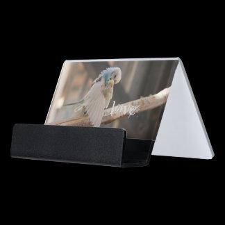 Love / Kissing Love Birds Photo Custom Desk Business Card Holder