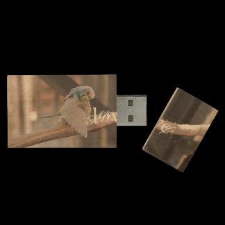 Love / Kissing Love Birds Photo Custom Wood USB Flash Drive