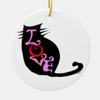 Love Kitteh Retro Art Ornament