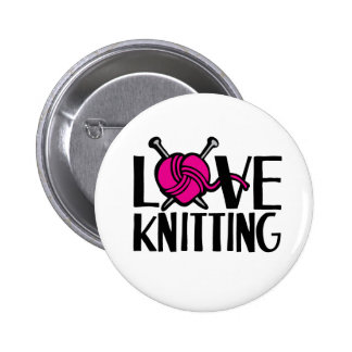 Love knitting button badge in pink black white