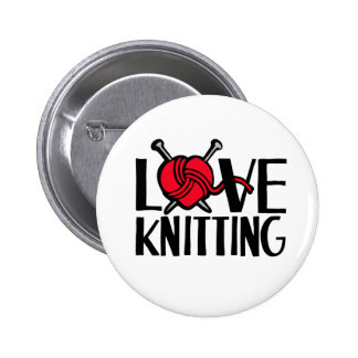 Love knitting button badge in red black white