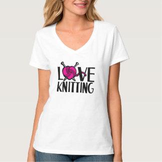 Love knitting pink black graphic slogan t-shirt