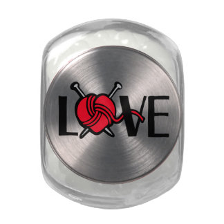 Love Knitting red wool and knitting needles candy Jelly Belly Candy Jar