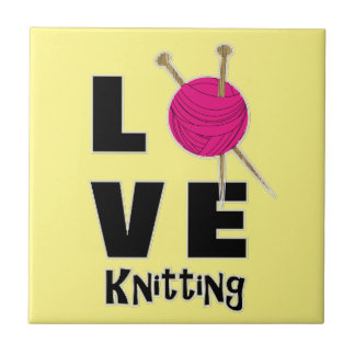 Love Knitting Wool And Needles Novelty Tile