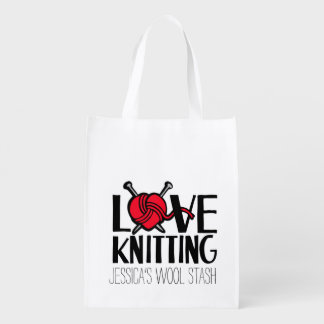 Love knitting wool stash red bag market tote
