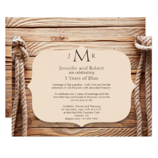 Love Knot 5th Wedding Anniversary Invitation