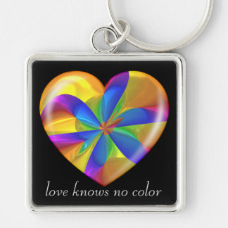 Love Knows No Color Kaleidoscope Amber Heart Keychain