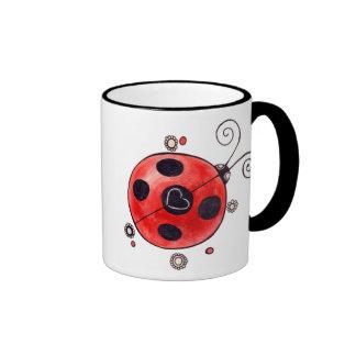 Love Ladybug Ringer Coffee Mug