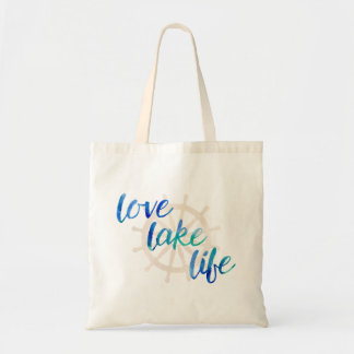 Love Lake Life Nautical Typography Watercolor Blue Tote Bag