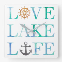 Love Lake Life Nautical Typography Watercolor Square Wall Clock