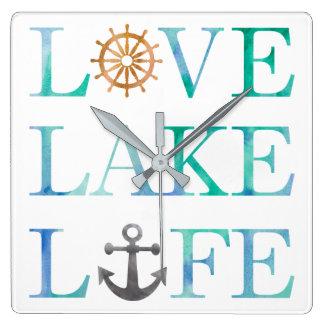 Love Lake Life Nautical Typography Watercolor Square Wall Clock