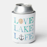 Love Lake Life Nautical Watercolor Typography Can Cooler