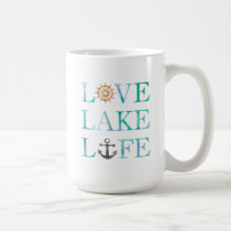 Love Lake Life Nautical Watercolor Typography Coffee Mug