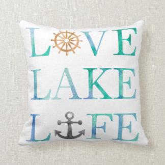 Love Lake Life Watercolor Typography Nautical Throw Pillow