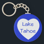 "Love Lake Tahoe California / Nevada Heart Keychain<br><div class=""desc"">Welcome To Lake Tahoe... Heaven on earth! This fun travel keychain features a large white heart with the words Lake Tahoe against a vibrant royal blue background. Lake Tahoe keychains make fun souvenirs and have many uses... : Personal use ~ keep vacation memories alive! Business Promotions Wedding Favors Gift baskets...</div>"