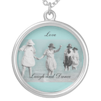 Love, Laugh and Dance Round Pendant Necklace