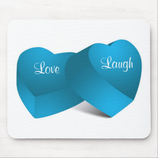 Love Laugh Blue Candy Hearts Mousepad