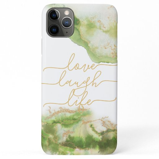 Love Laugh Life August Peridot Watercolor Geode iPhone 11 Pro Max Case