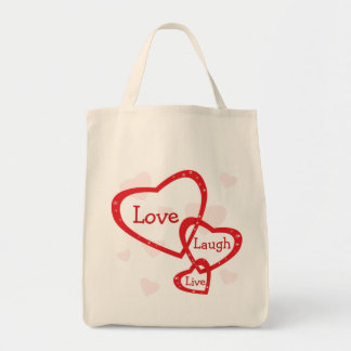 Love Laugh Live Hearts Canvas Grocery Tote Bag
