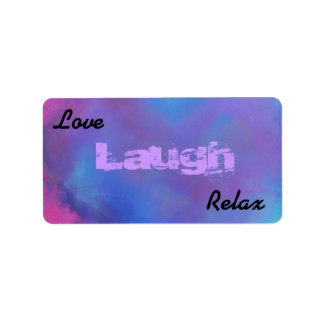 Love laugh relax on an Ethereal Blue Abstract Address Label